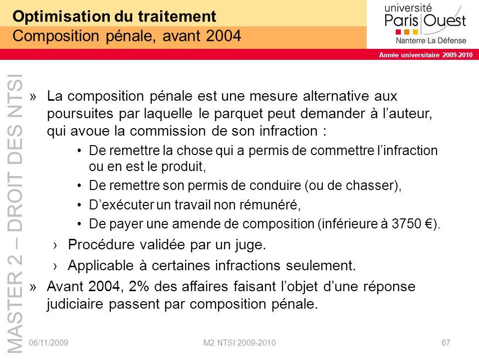 Optimisation du traitement Composition pénale, avant 2004