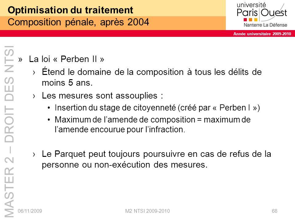 Optimisation du traitement Composition pénale, après 2004