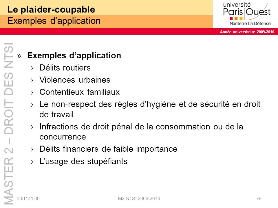 Le plaider-coupable Exemples d'application