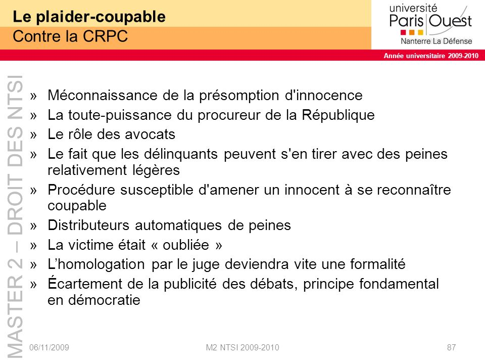Le plaider-coupable Contre la CRPC
