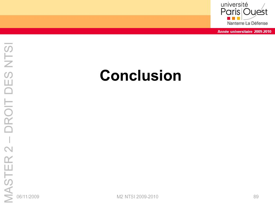 Conclusion 06/11/2009 M2 NTSI 2009-2010