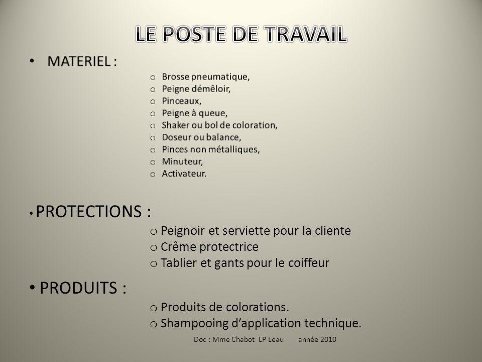 LE POSTE DE TRAVAIL PRODUITS : MATERIEL :