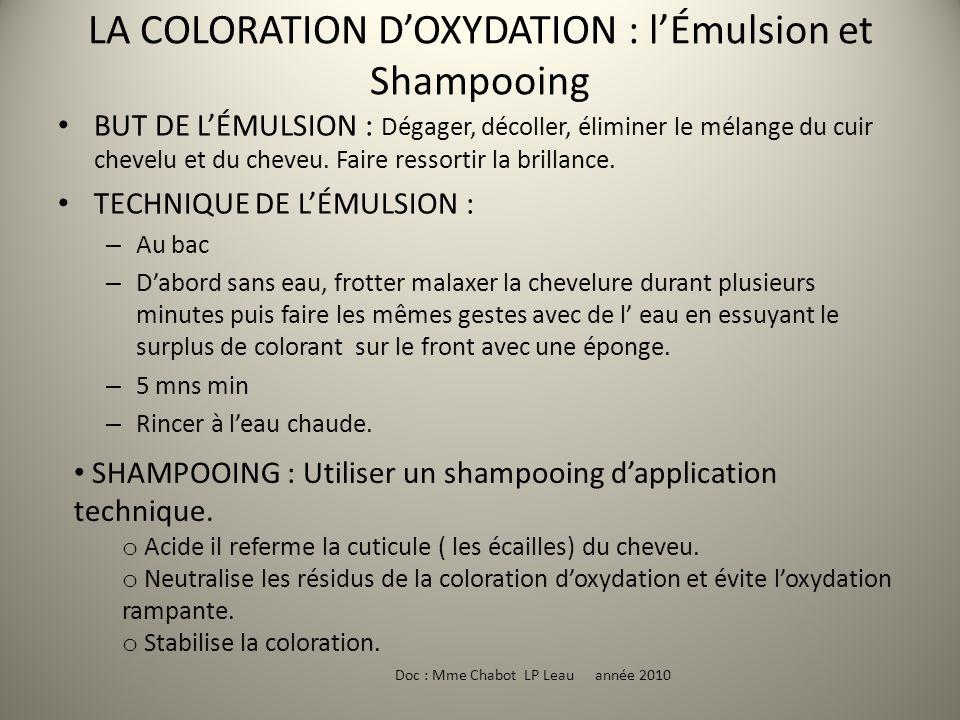 LA COLORATION D'OXYDATION : l'Émulsion et Shampooing