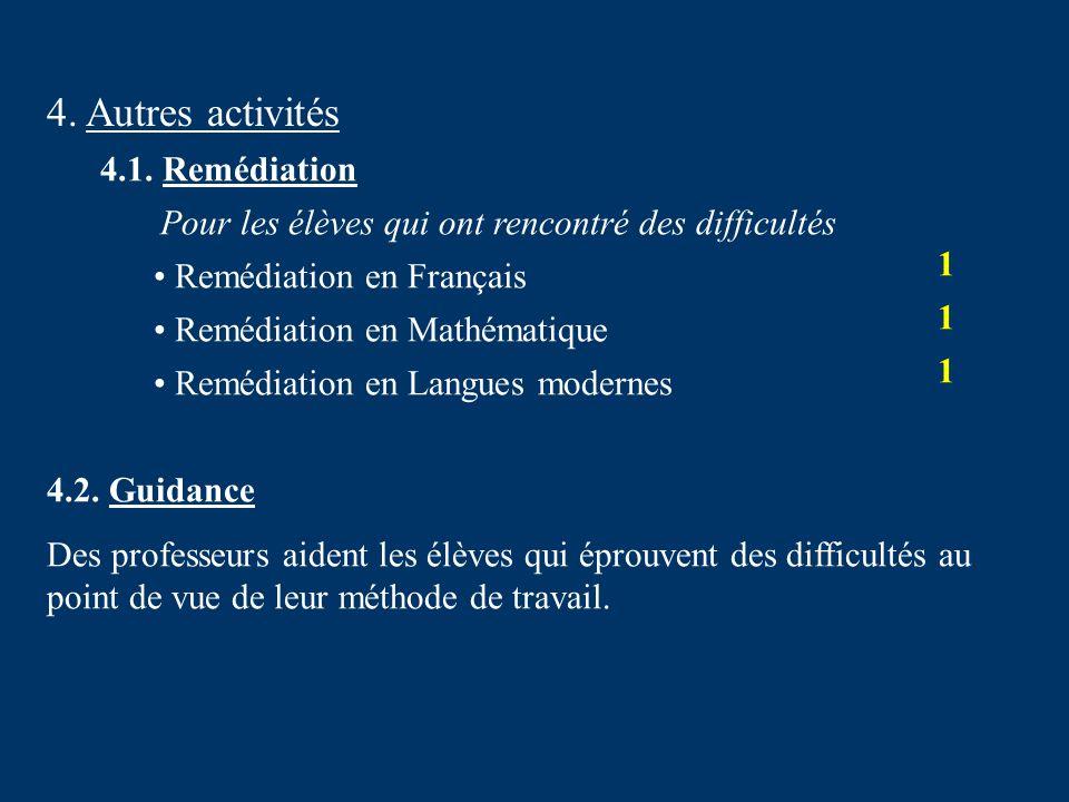 4. Autres activités 4.1. Remédiation Remédiation en Français 1