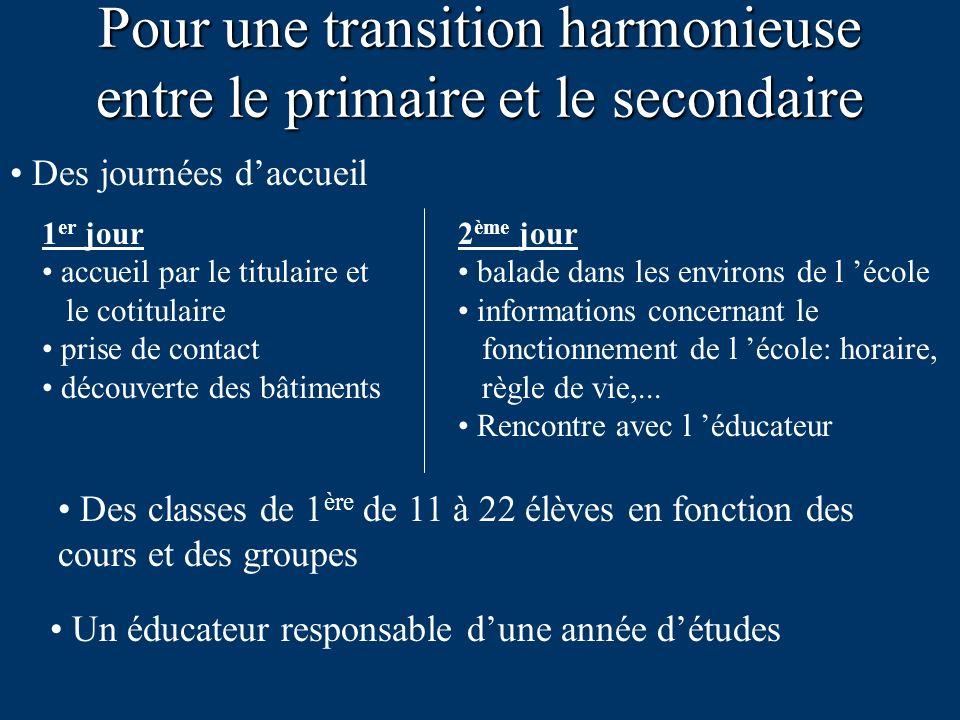 Pour une transition harmonieuse entre le primaire et le secondaire