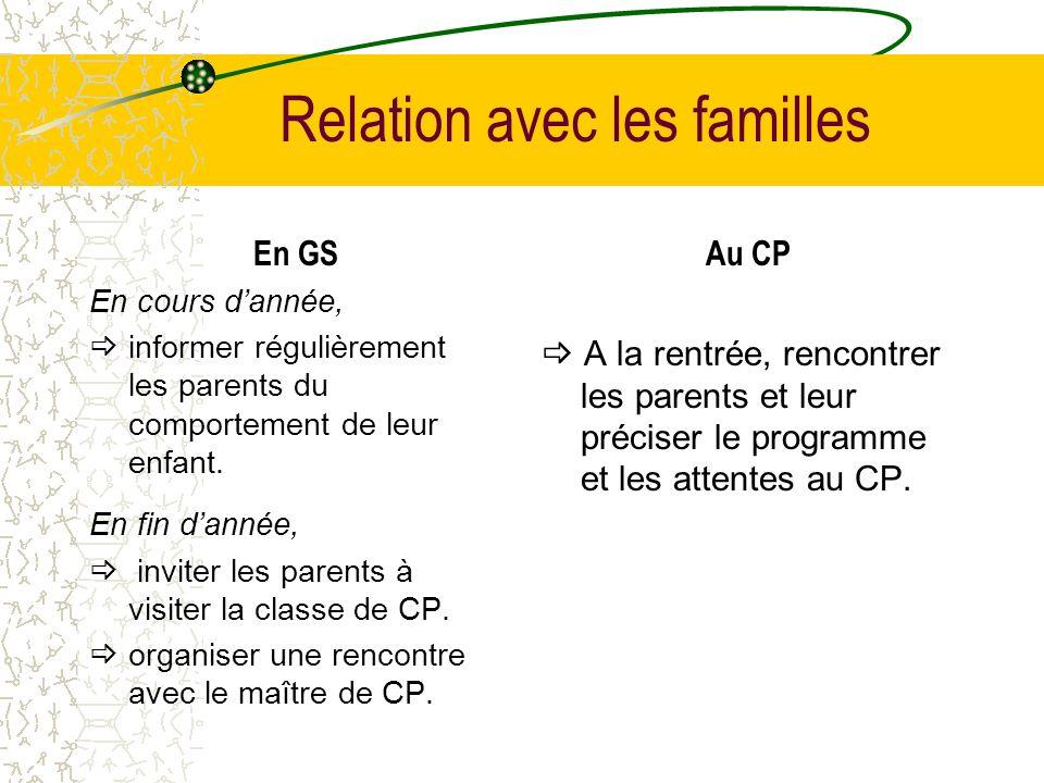 Relation avec les familles