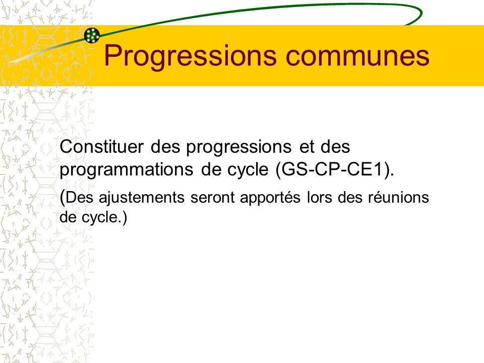 Progressions communes
