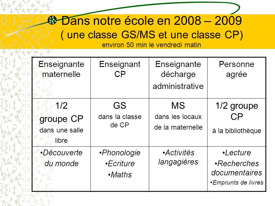 Dans notre école en 2008 – 2009 ( une classe GS/MS et une classe CP) environ 50 min le vendredi matin