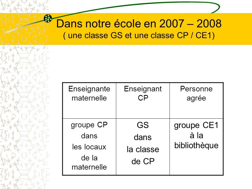 Dans notre école en 2007 – 2008 ( une classe GS et une classe CP / CE1)
