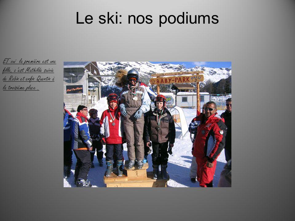 Le ski: nos podiums ET oui la première est une fille, c'est Mathilde suivie de Robin et enfin Quentin à la troisième place .