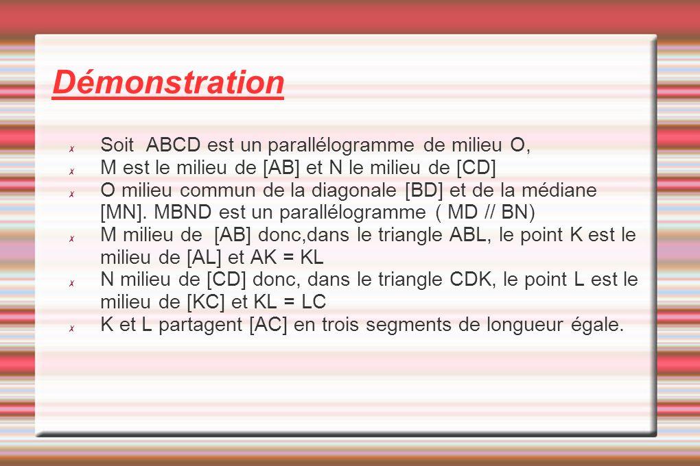 Démonstration Soit ABCD est un parallélogramme de milieu O,