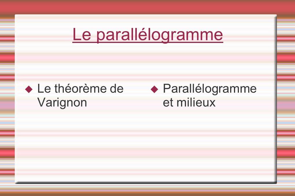Le parallélogramme Le théorème de Varignon Parallélogramme et milieux
