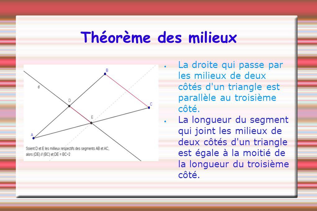 Théorème des milieux La droite qui passe par les milieux de deux côtés d un triangle est parallèle au troisième côté.