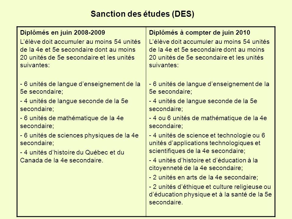 Sanction des études (DES)