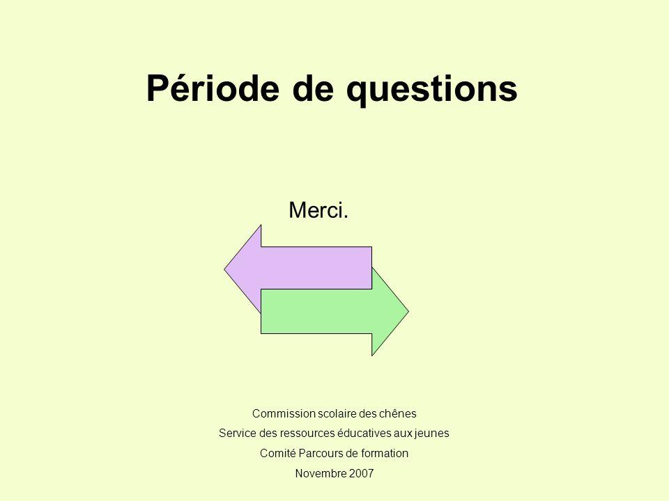 Période de questions Merci. Commission scolaire des chênes