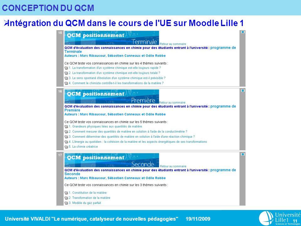 Intégration du QCM dans le cours de l UE sur Moodle Lille 1