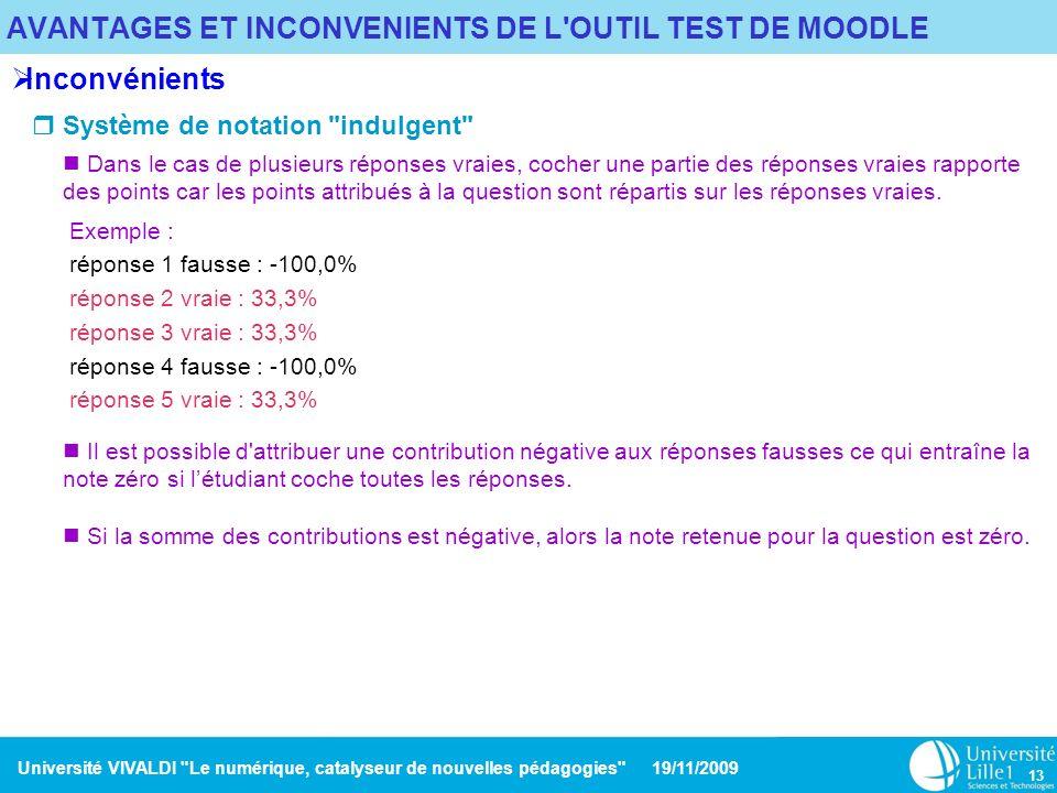 AVANTAGES ET INCONVENIENTS DE L OUTIL TEST DE MOODLE