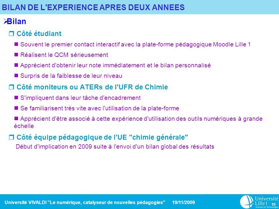 BILAN DE L EXPERIENCE APRES DEUX ANNEES