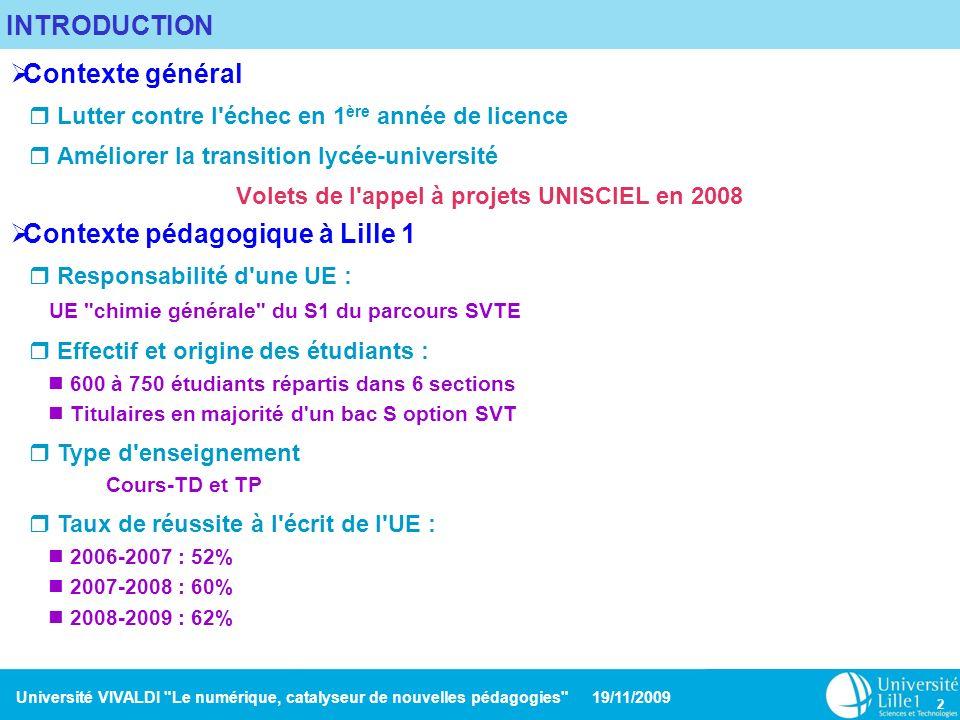 Volets de l appel à projets UNISCIEL en 2008
