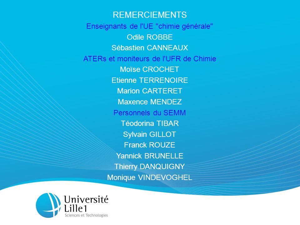 REMERCIEMENTS Enseignants de l UE chimie générale Odile ROBBE