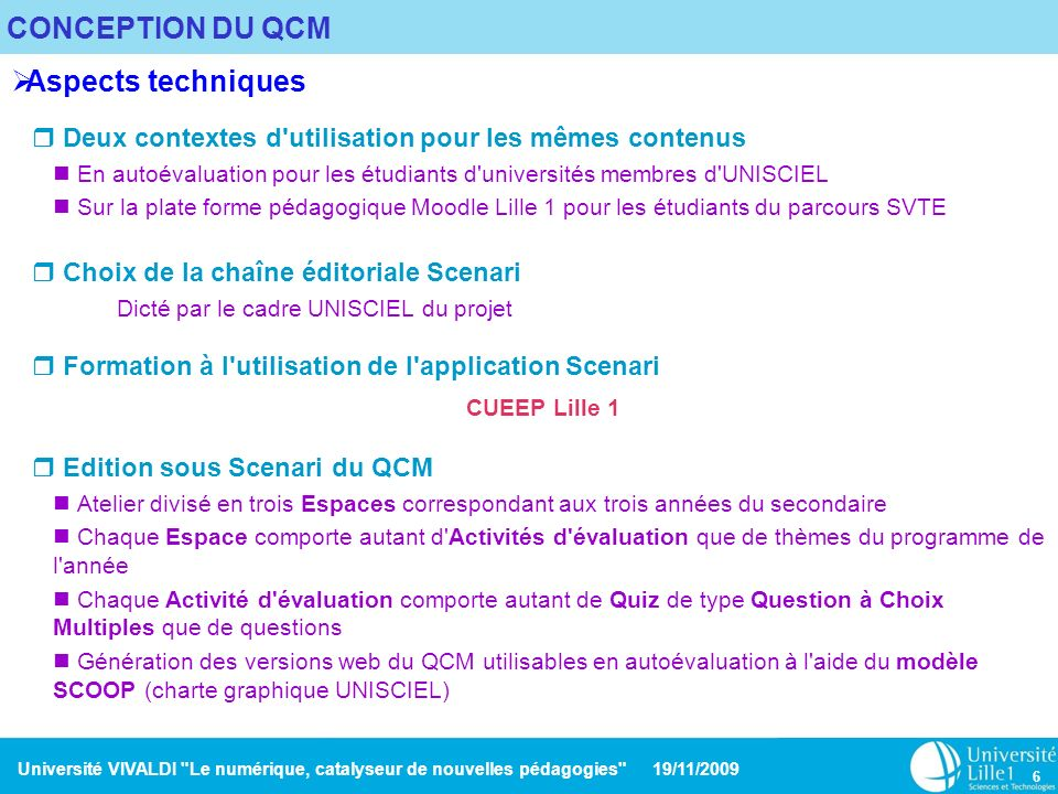 CONCEPTION DU QCM Aspects techniques