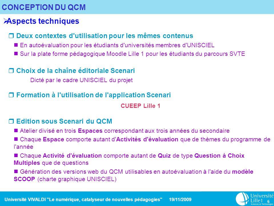 CONCEPTION DU QCM Aspects techniques