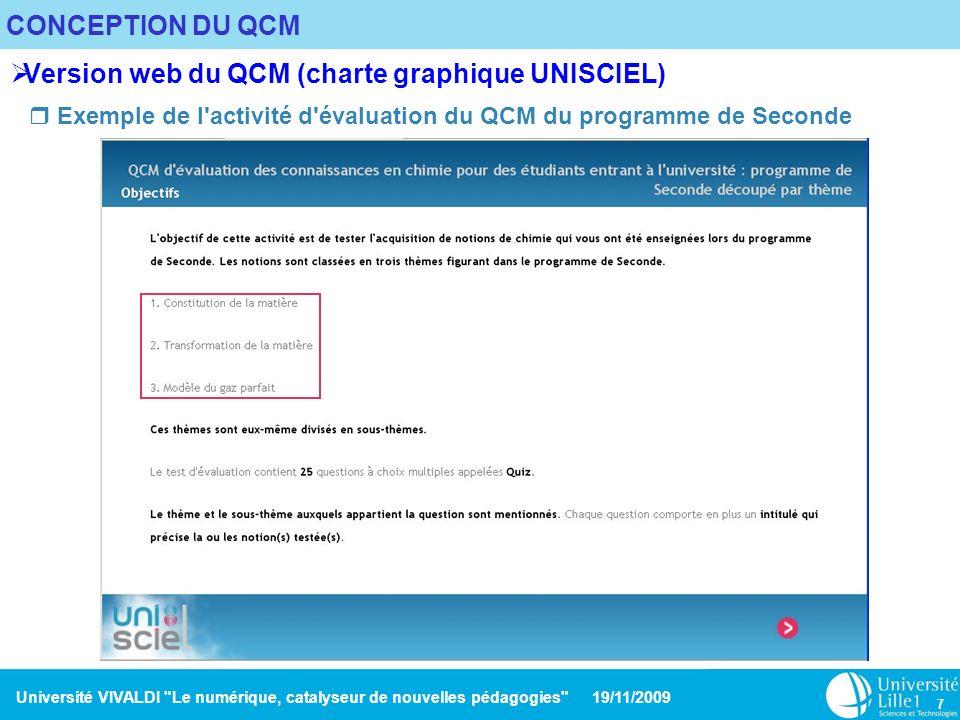 Version web du QCM (charte graphique UNISCIEL)