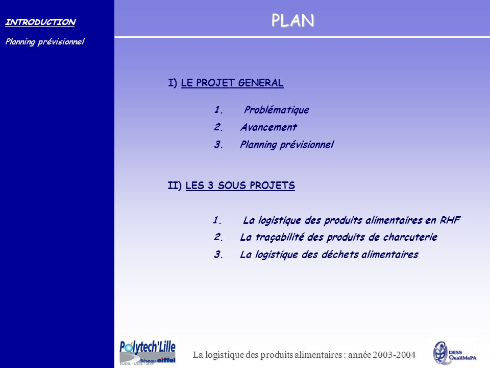 PLAN I) LE PROJET GENERAL 1. Problématique 2. Avancement