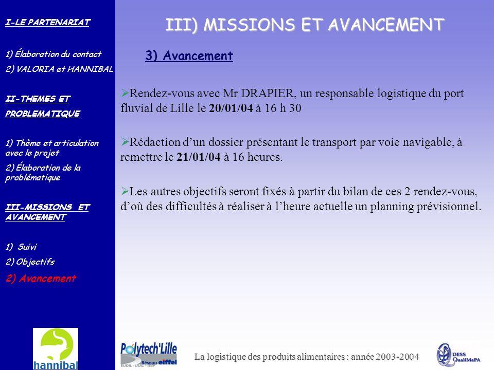 III) MISSIONS ET AVANCEMENT