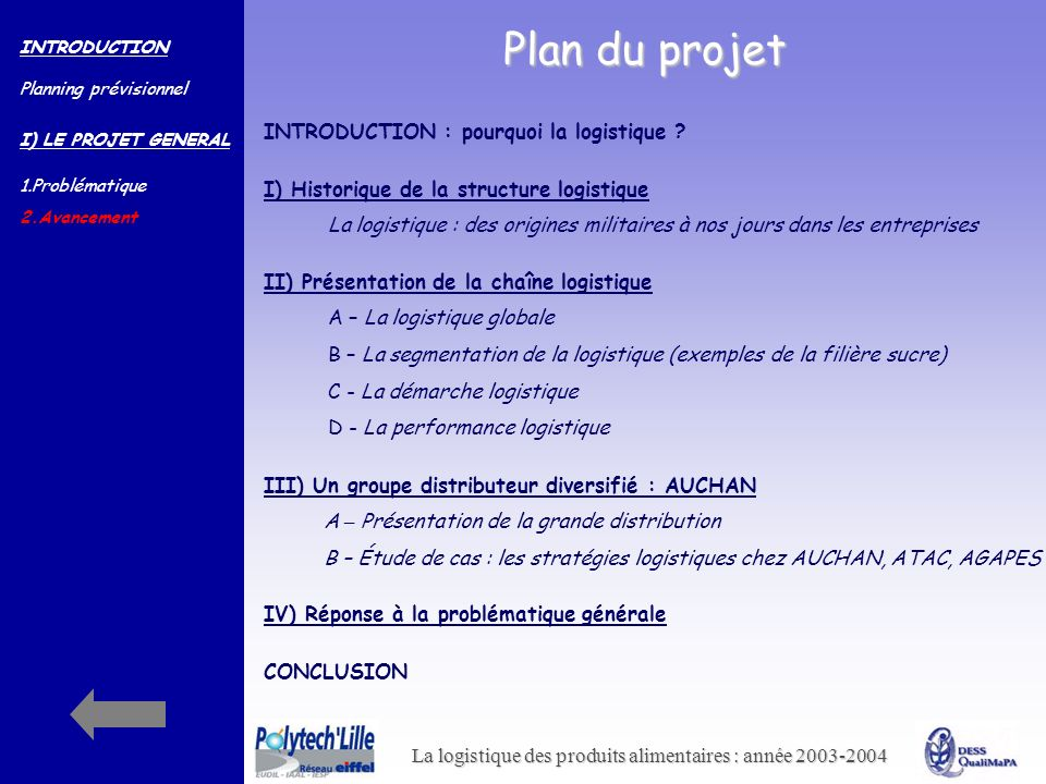Plan du projet INTRODUCTION : pourquoi la logistique