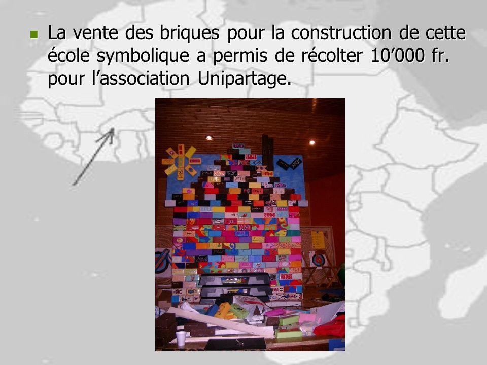 La vente des briques pour la construction de cette école symbolique a permis de récolter 10'000 fr.