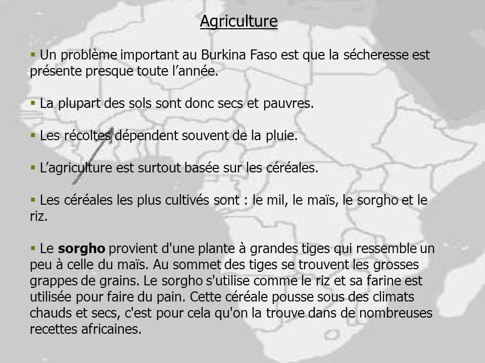 Agriculture Un problème important au Burkina Faso est que la sécheresse est présente presque toute l'année.