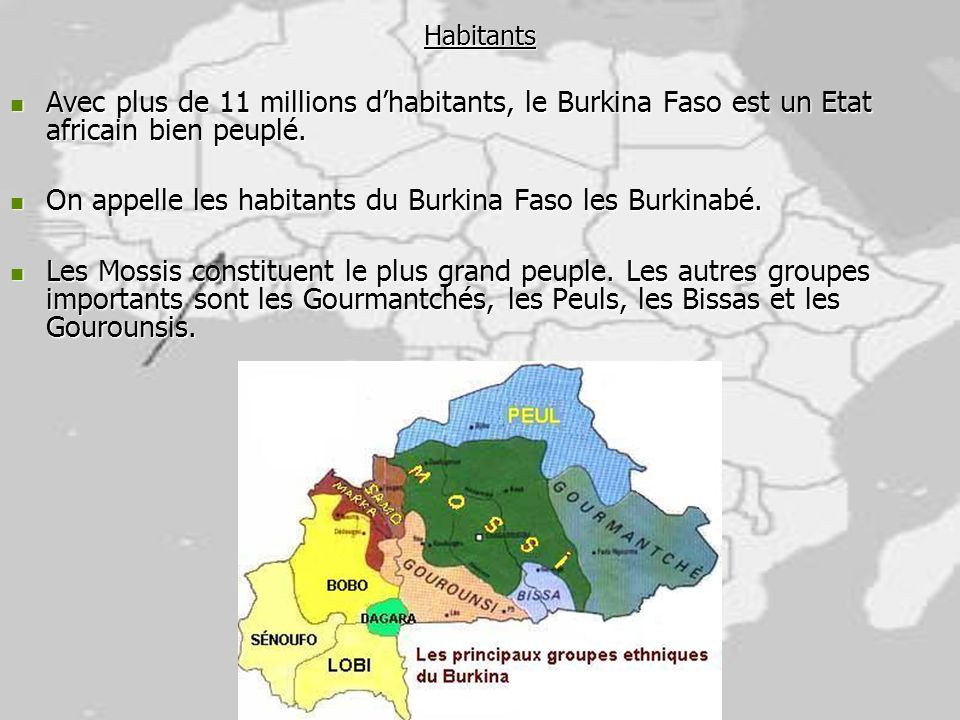 On appelle les habitants du Burkina Faso les Burkinabé.
