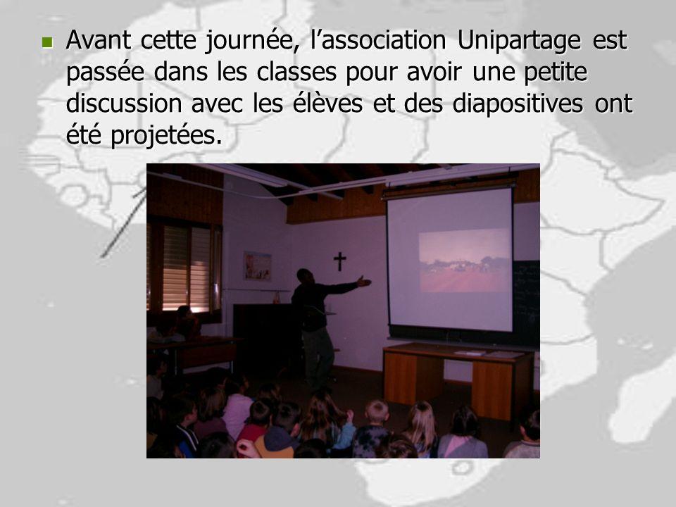 Avant cette journée, l'association Unipartage est passée dans les classes pour avoir une petite discussion avec les élèves et des diapositives ont été projetées.