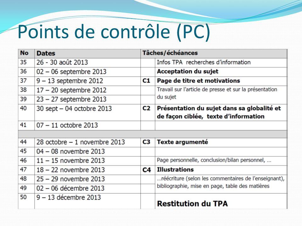 Points de contrôle (PC)