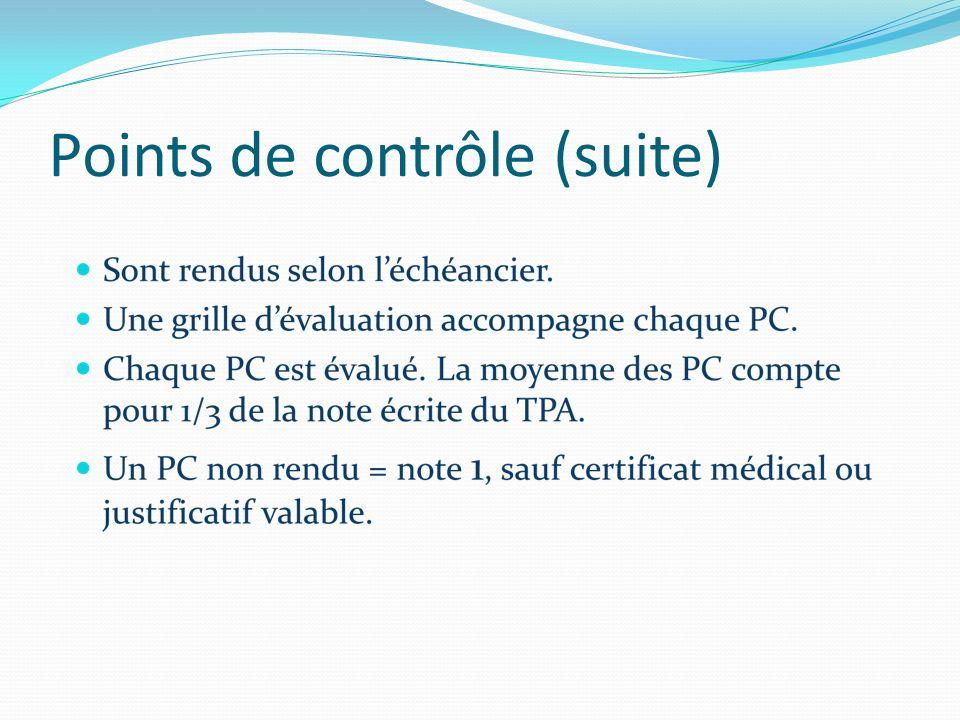 Points de contrôle (suite)