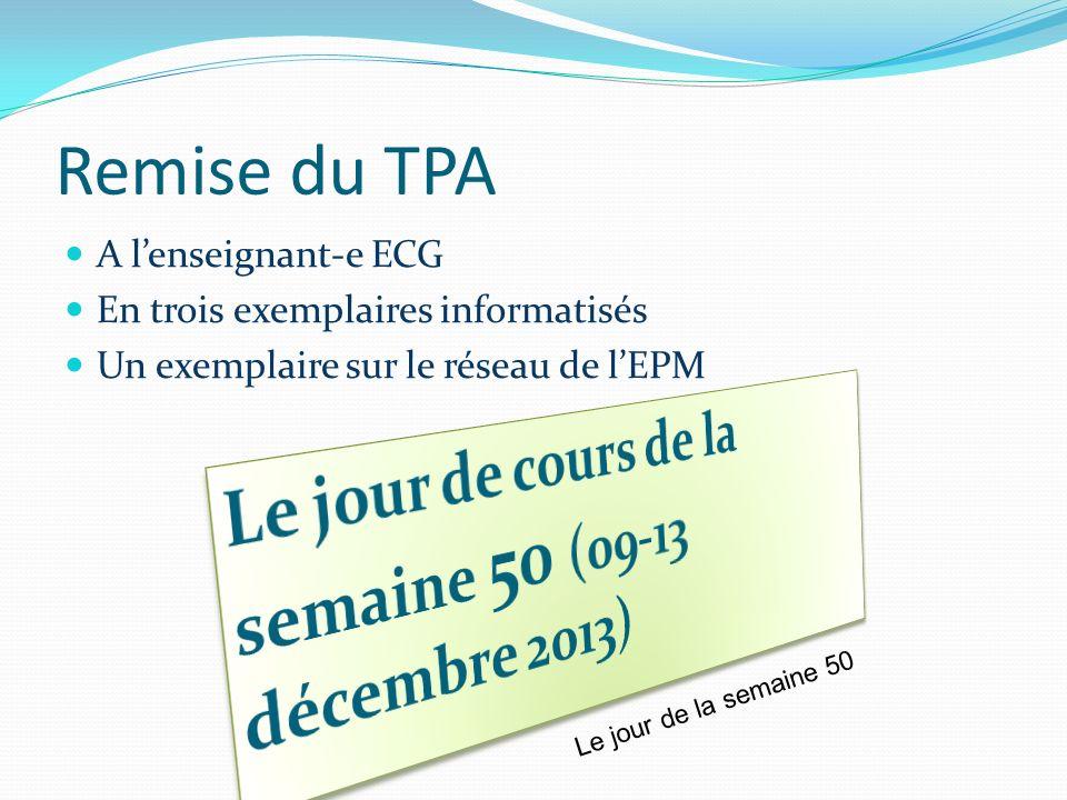 Remise du TPA Le jour de cours de la semaine 50 (09-13 décembre 2013)