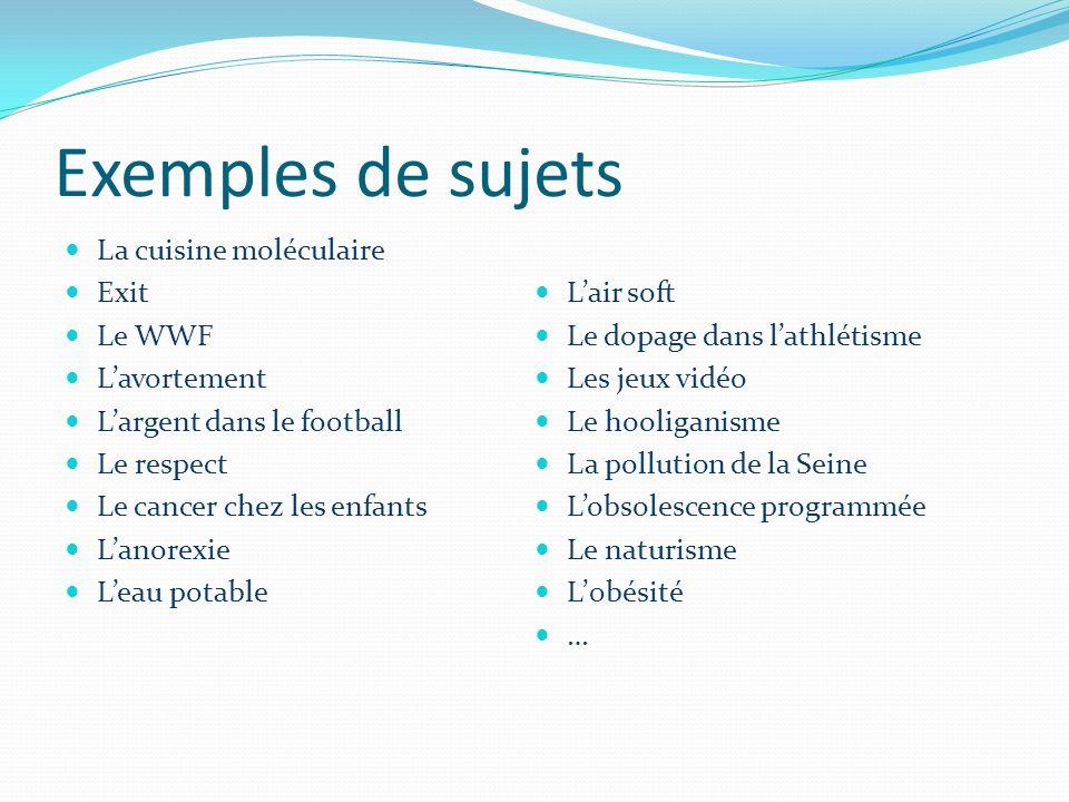 Exemples de sujets La cuisine moléculaire Exit L'air soft Le WWF