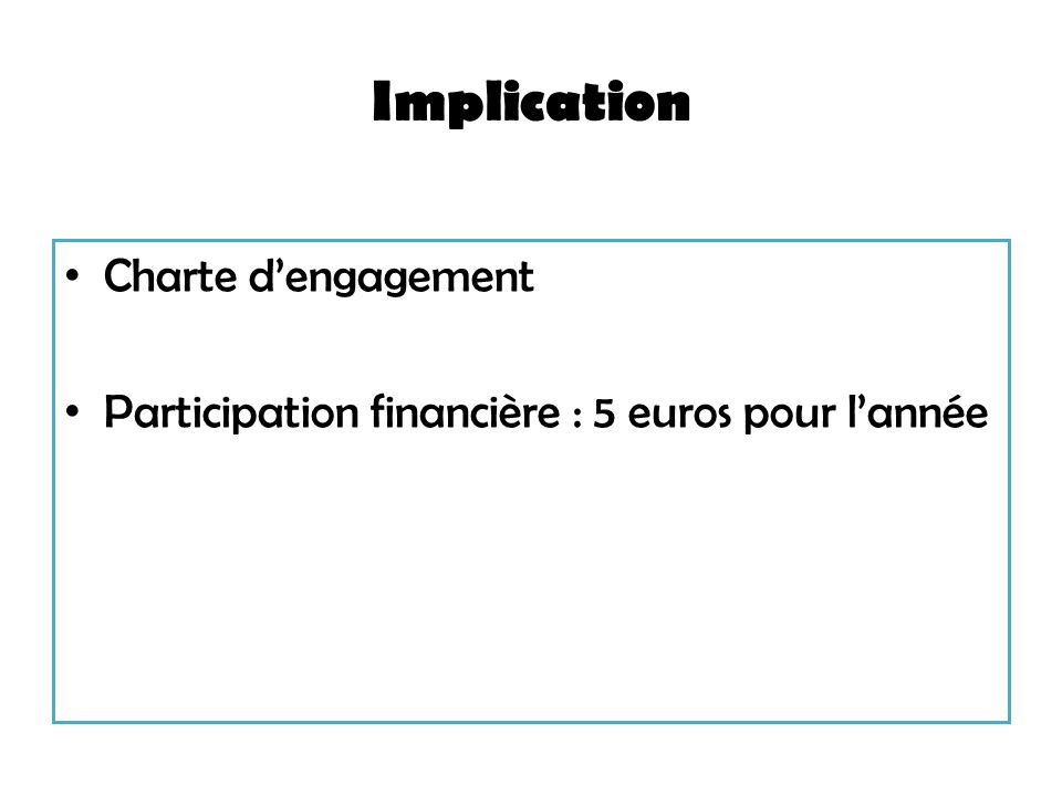 Implication Charte d'engagement