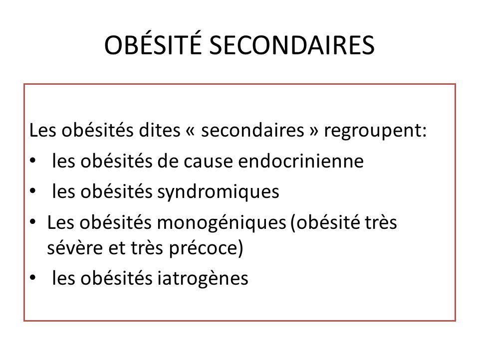 OBÉSITÉ SECONDAIRES Les obésités dites « secondaires » regroupent:
