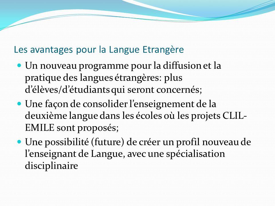 Les avantages pour la Langue Etrangère