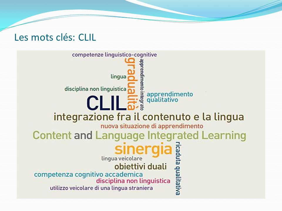 Les mots clés: CLIL