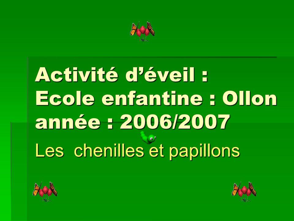 Activité d'éveil : Ecole enfantine : Ollon année : 2006/2007