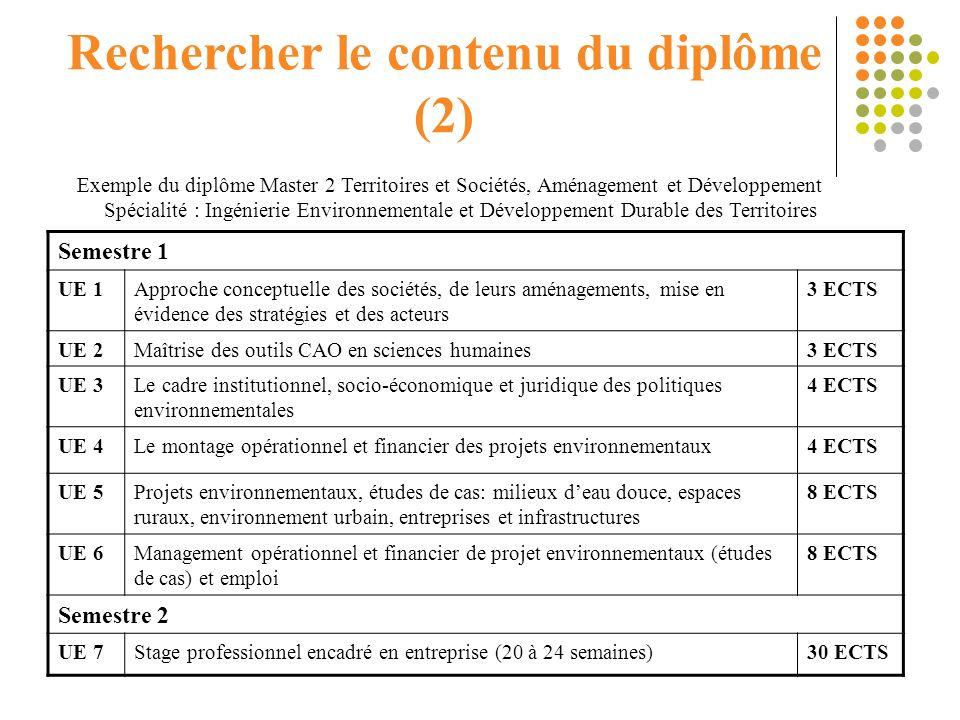 Rechercher le contenu du diplôme (2)