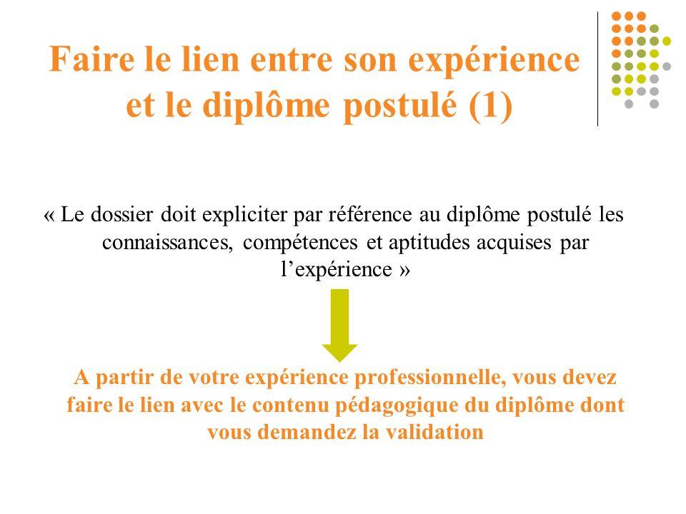 Faire le lien entre son expérience et le diplôme postulé (1)