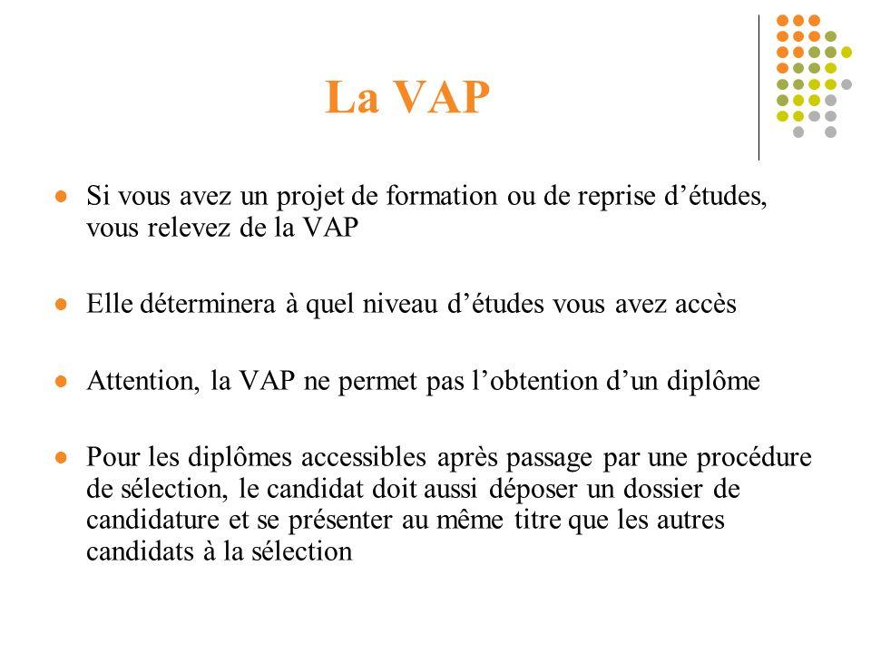 La VAP Si vous avez un projet de formation ou de reprise d'études, vous relevez de la VAP. Elle déterminera à quel niveau d'études vous avez accès.