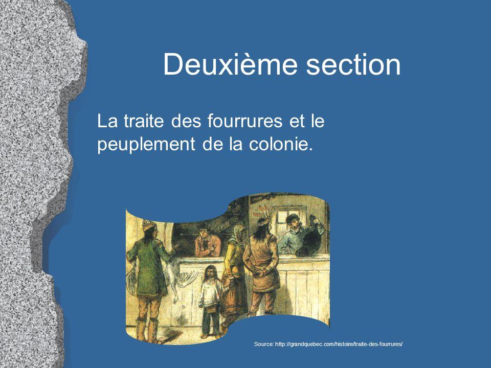 Deuxième section La traite des fourrures et le peuplement de la colonie.