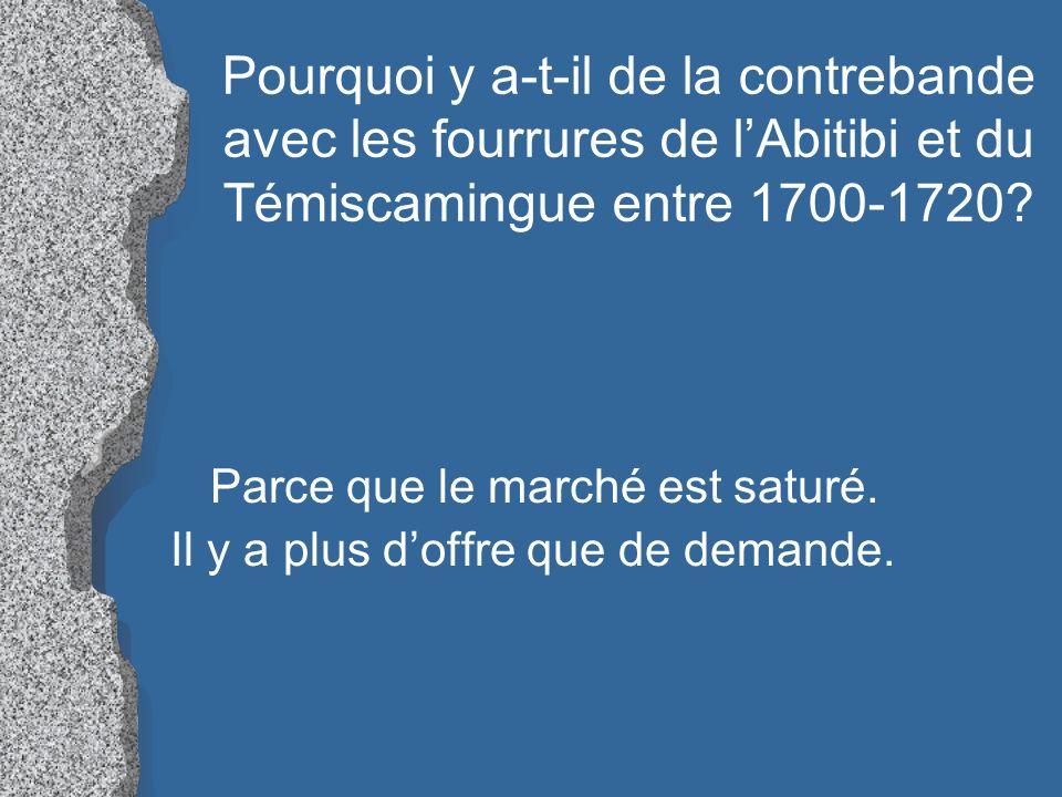 Pourquoi y a-t-il de la contrebande avec les fourrures de l'Abitibi et du Témiscamingue entre 1700-1720