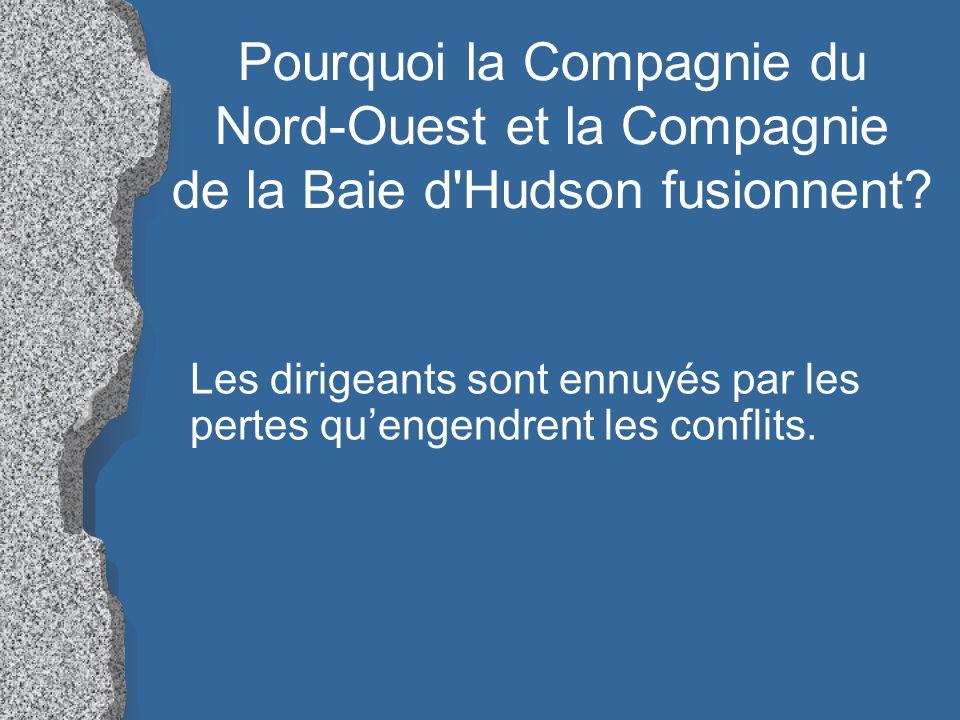 Pourquoi la Compagnie du Nord-Ouest et la Compagnie de la Baie d Hudson fusionnent