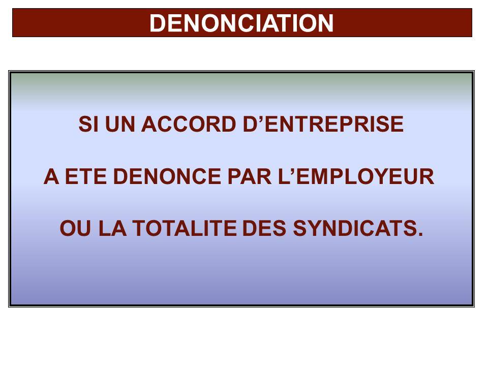 DENONCIATION SI UN ACCORD D'ENTREPRISE A ETE DENONCE PAR L'EMPLOYEUR